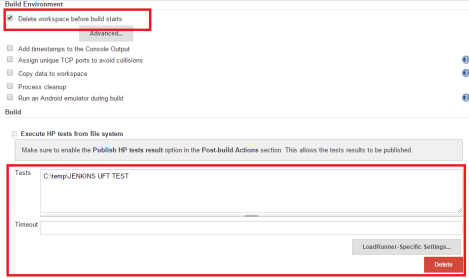 Jenkins Execute HP tests From File System