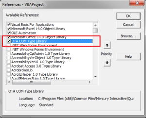 OTA COM LIBRARY REFERENCE EXCEL