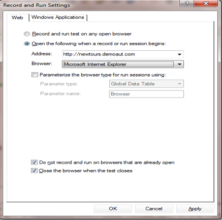 UFT 12.5 record and run settings